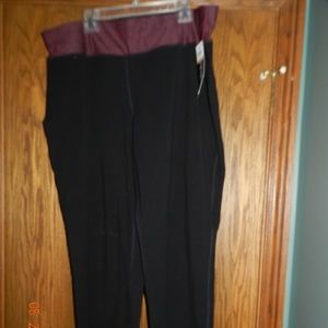 NWT Ideology Black w/Red Waistband Yoga Pant